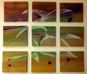 watercolor wood panels bird painting
